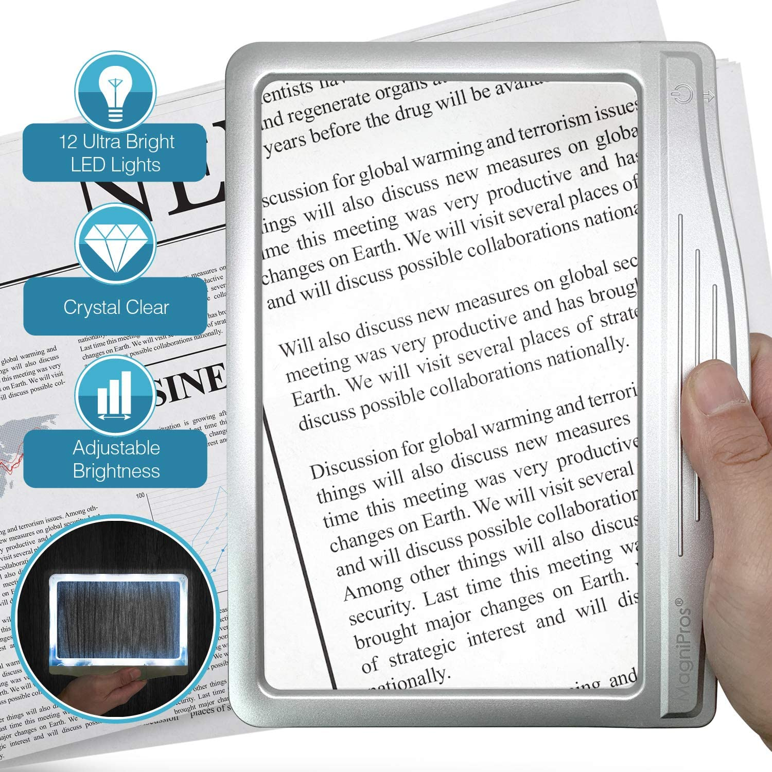 MagniPros 3X Large Ultra Bright LED Page Magnifier with 12 Anti-Glare Dimmable LEDs