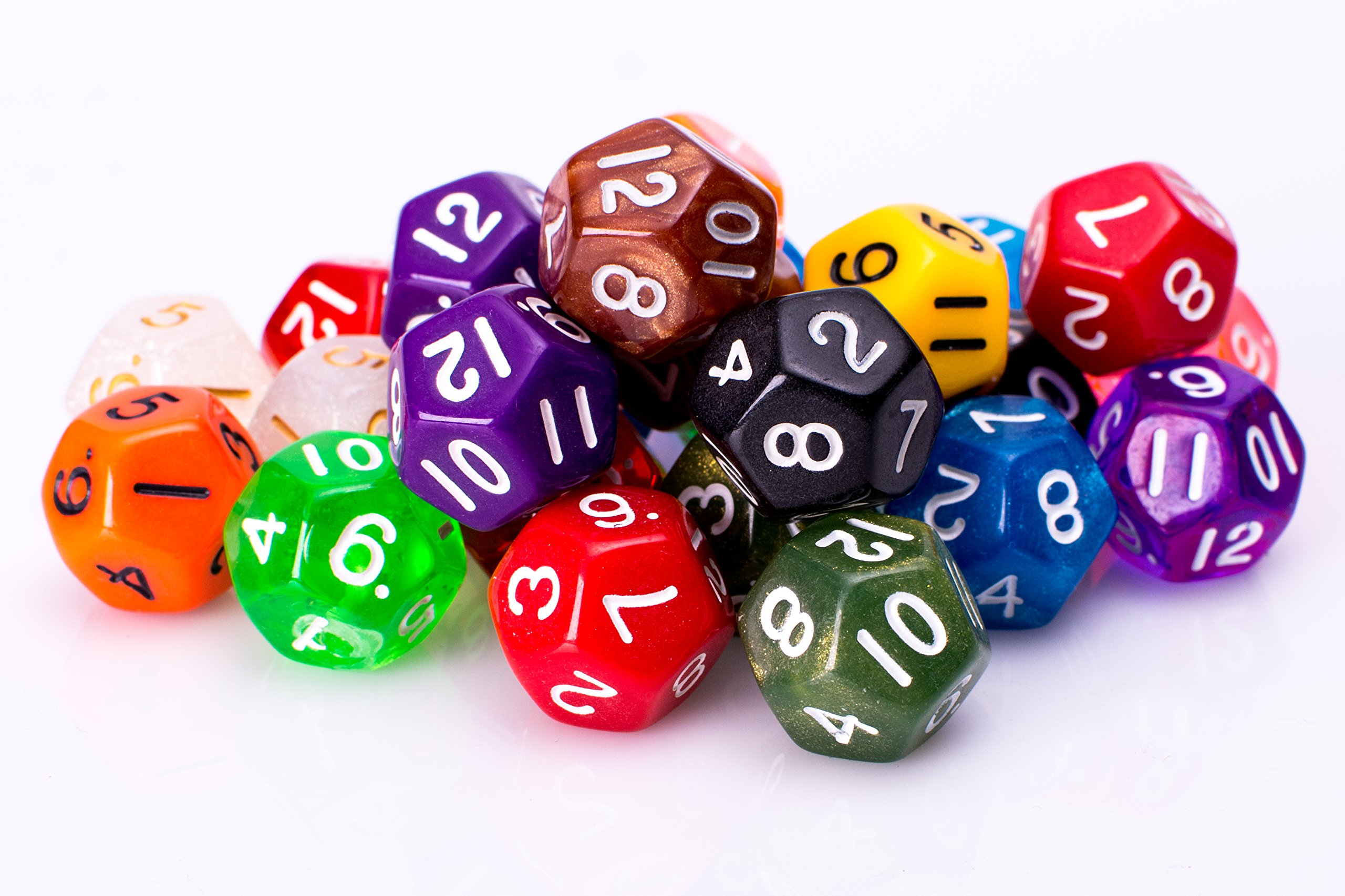 25 Count Assorted Pack of 12 Sided Dice - Multi Colored Assortment of D12 Polyhedral Dice by Easy Roller Dice Co.