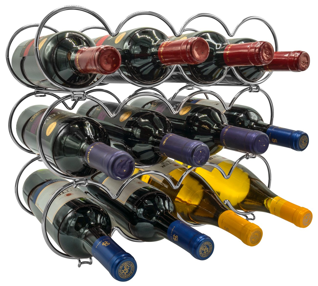 Sorbus 3-Tier Stackable Wine Rack - Round Classic Style Wine Racks for Bottles - Perfect for Bar, Wine Cellar, Basement, Cabinet, Pantry, etc - Hold 12 Bottles, Metal (Round Silver)