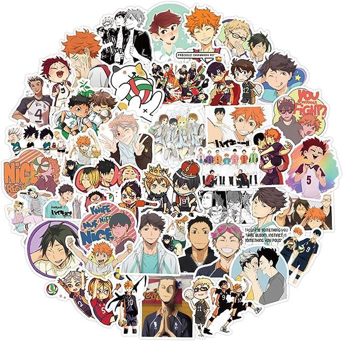 PVE Pegatinas de Dibujos Animados Impermeable para Botella Maleta M/óvil Ordenador Port/átil Pegatinas de Monopat/ín Ni/ños Fans Regalos No 40PCS Pegatinas de Haikyuu Etiqueta Engomada de Anime Manga