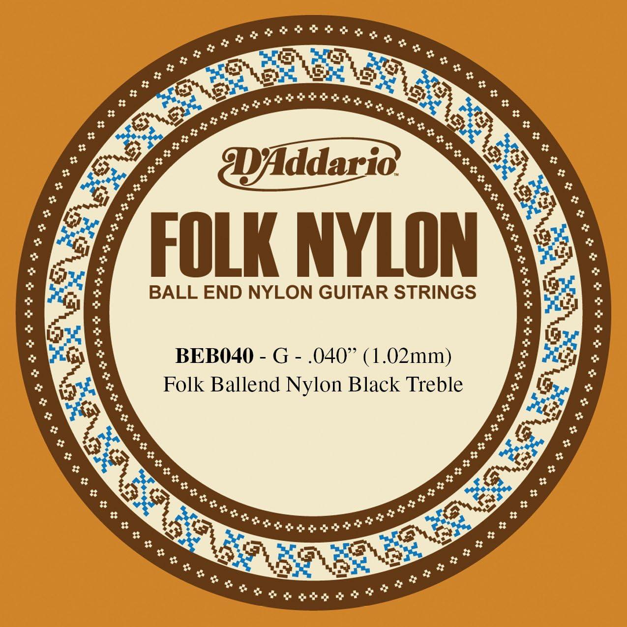 D'Addario BEB040 Folk Nylon, cuerda individual para guitarra, nailon negro, extremo de bola.040
