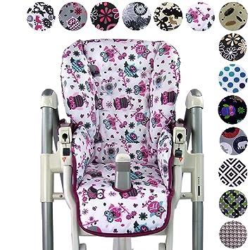 BambiniWelt - Funda de repuesto para silla Peg Perego Prima Pappa Diner (7 colores), diseño de búhos Eule Motiv §1