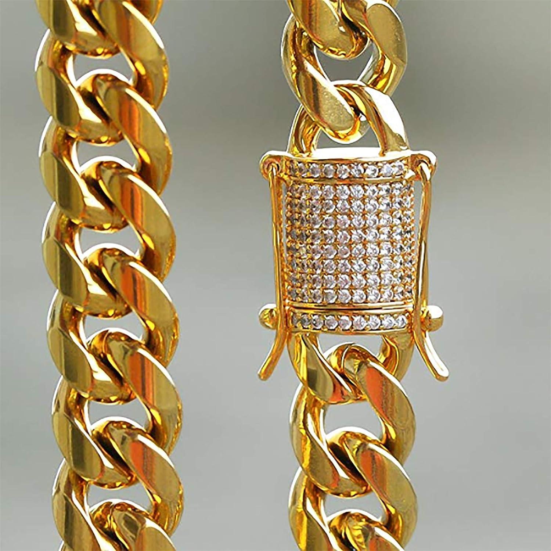 Hombre 14k oro revestido de acero inoxidable Curb Enlace Cadena Collar cubano de Miami Pulsera