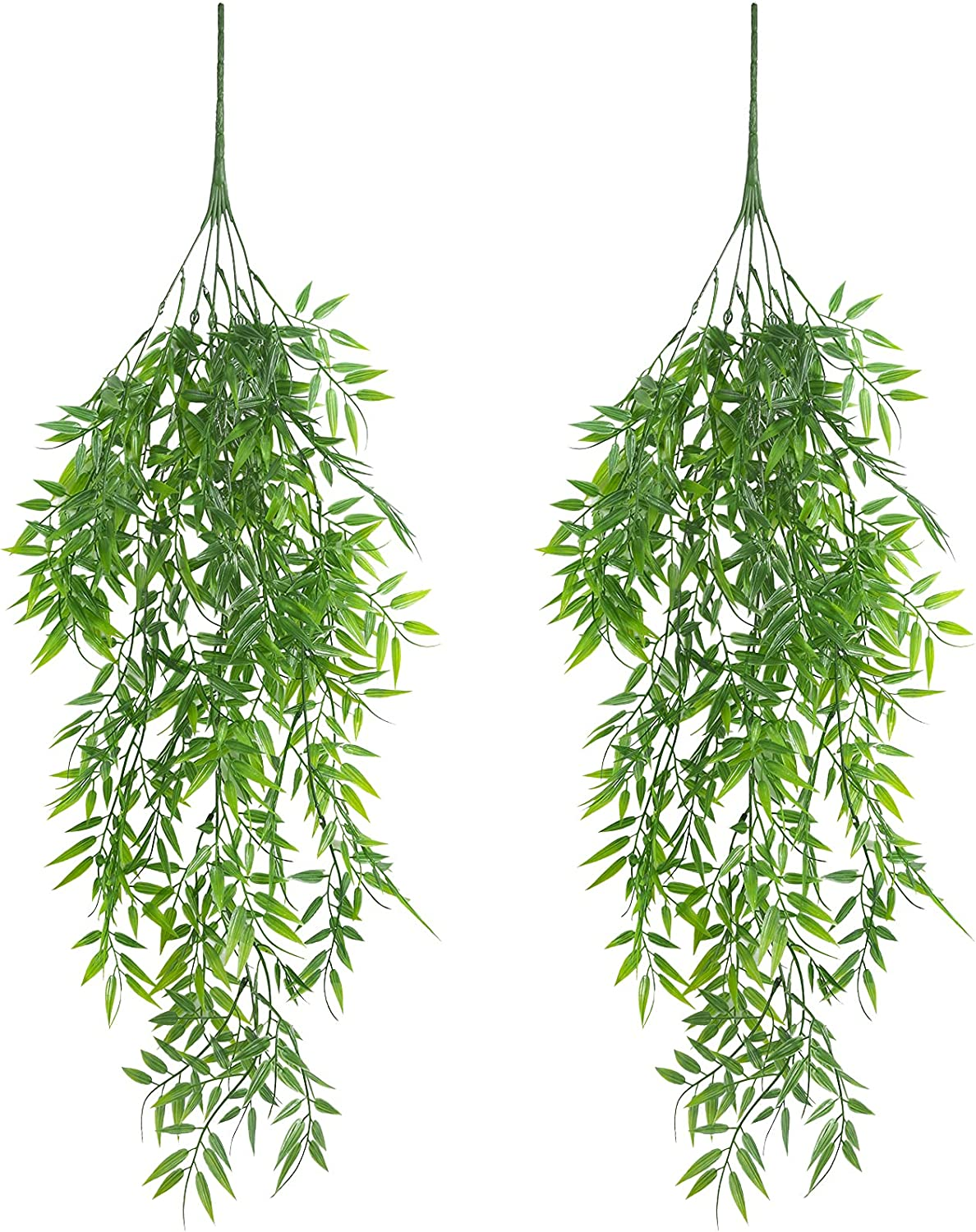 Omldggr 2 Pieces Artificial Hanging Ivy Vine Bamboo Leave Fake Hanging Basket Plants Walls Trailing Greenery for Indoor Outdoor Party Garden Office Wedding Decor