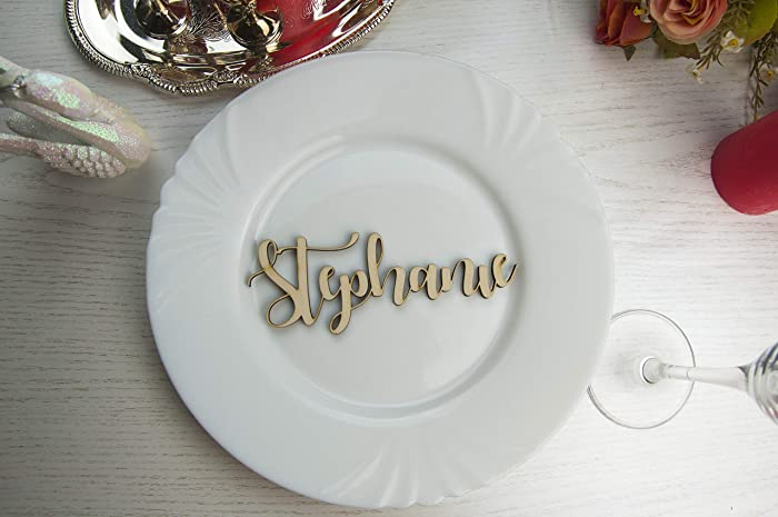 amazon com wooden laser cut names wedding place cards name place