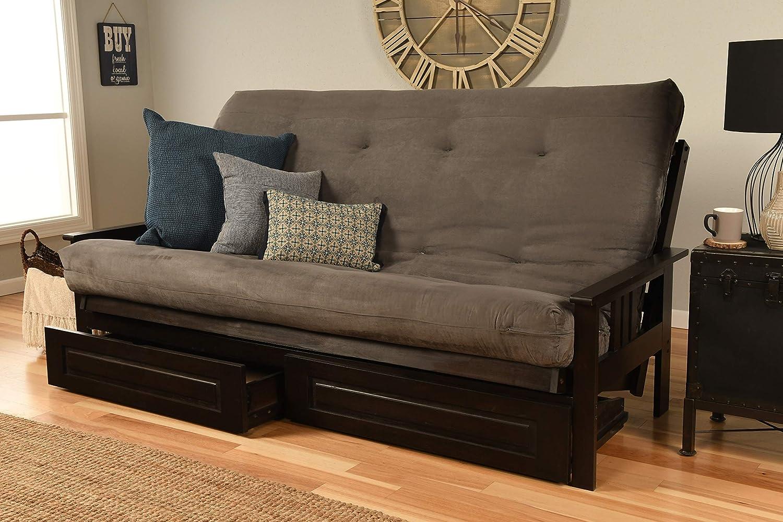 Kodiak Furniture Monterey Queen-size Futon, Storage Drawers, Espresso Finish with Suede Gray Mattress