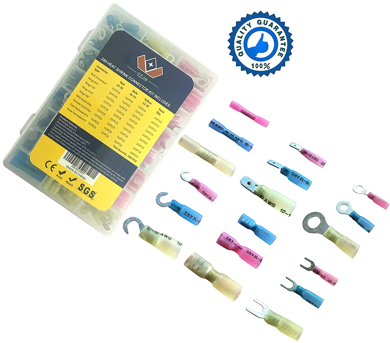 2.5cm 12-10 16-14 22-16 GA Electrical Assortment Heat Shrink Terminal Connectors