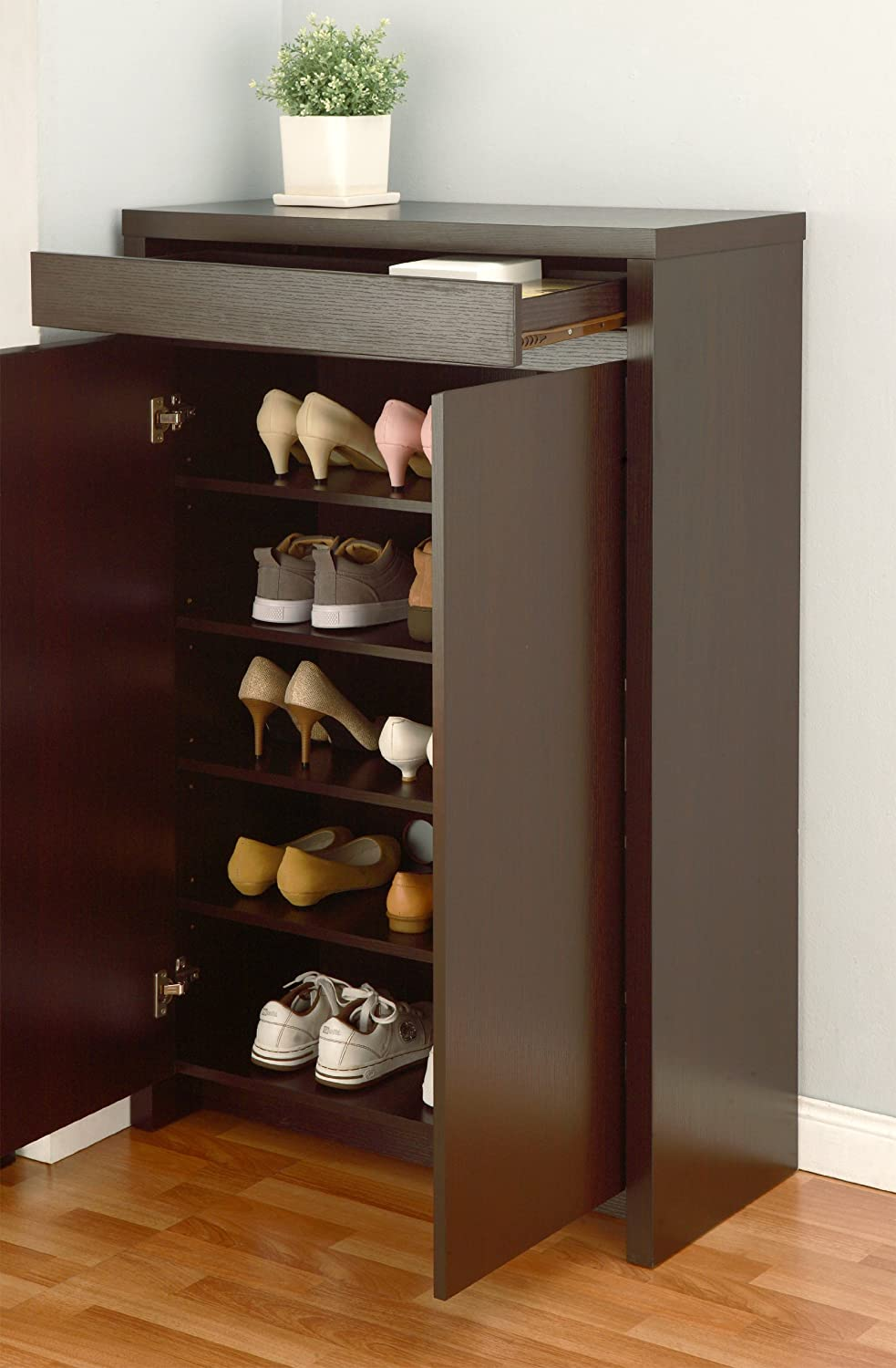 Amazon.com: ioHOMES Zoe 5-Shelf Shoe Cabinet with Drawer ...