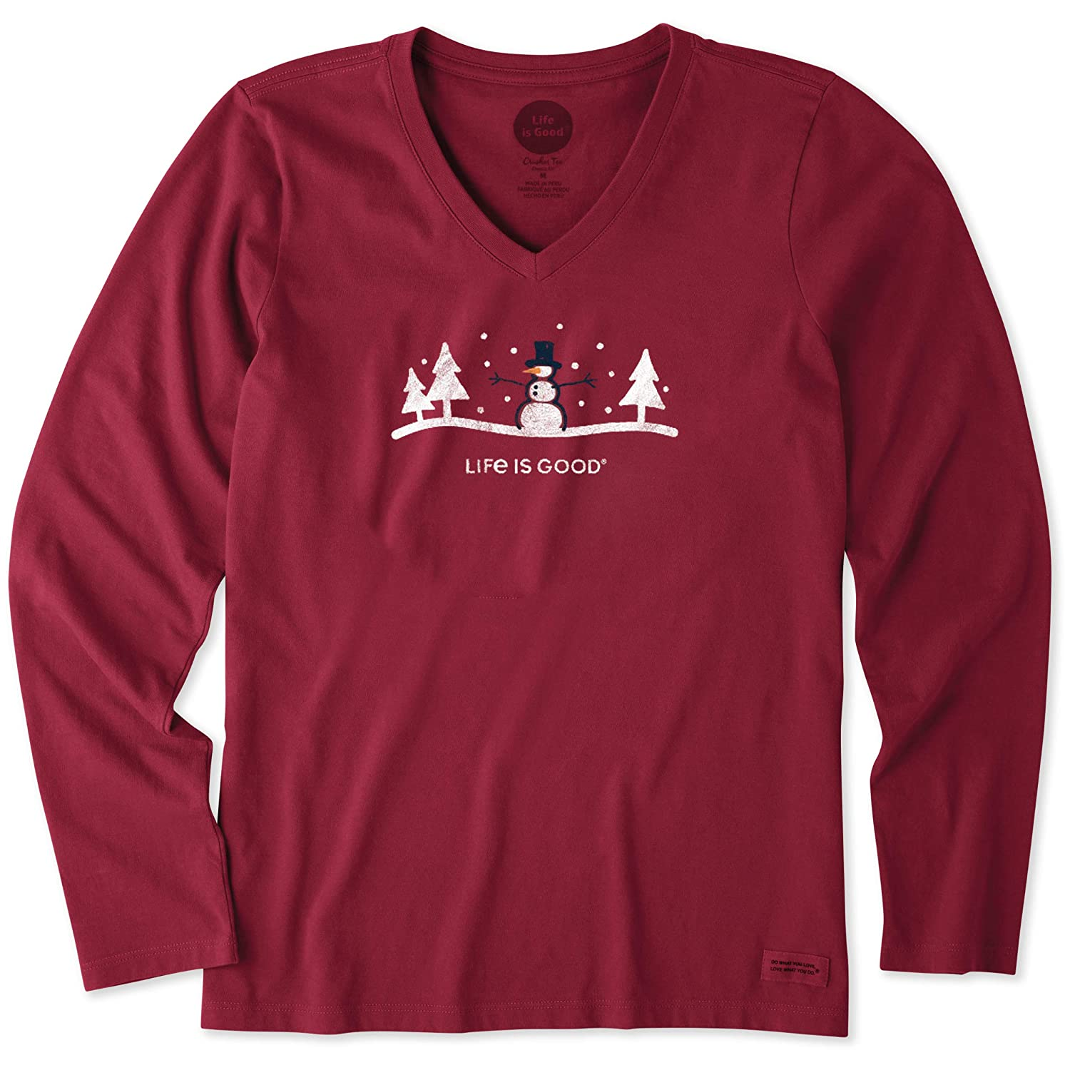 bf0e95c872d Amazon.com  Life is Good Womens Long Sleeve Snowman Outdoor Crusher Vee   Clothing