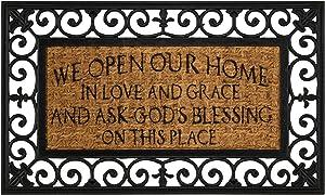Dicksons Open Home Love Grace Natural Brown 18 x 30 Inch Rubber & Coir Anti Slip Doormat