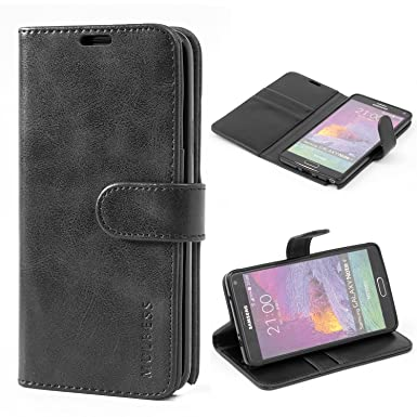 cheap for discount 29cb1 c1eeb Samsung Galaxy Note 4 Case,Mulbess Leather Case, Flip Folio Book Case,  Money Pouch Wallet Cover with Kick Stand for Samsung Galaxy Note 4,Black