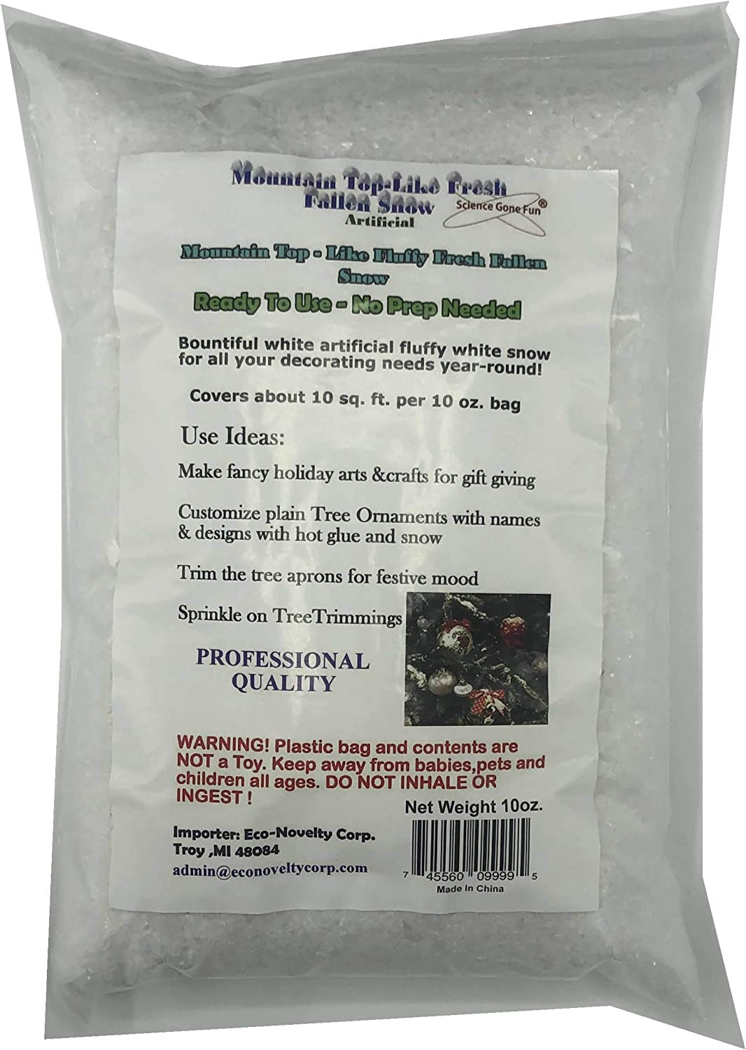 Mountain Top-Like Fluffy Fallen Snow 10 oz. Artificial Snow Scatter Flakes - Ready to Use-No Prep Needed, White