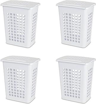 4-Pack Sterilite Rectangular LiftTop Laundry Hamper (White)