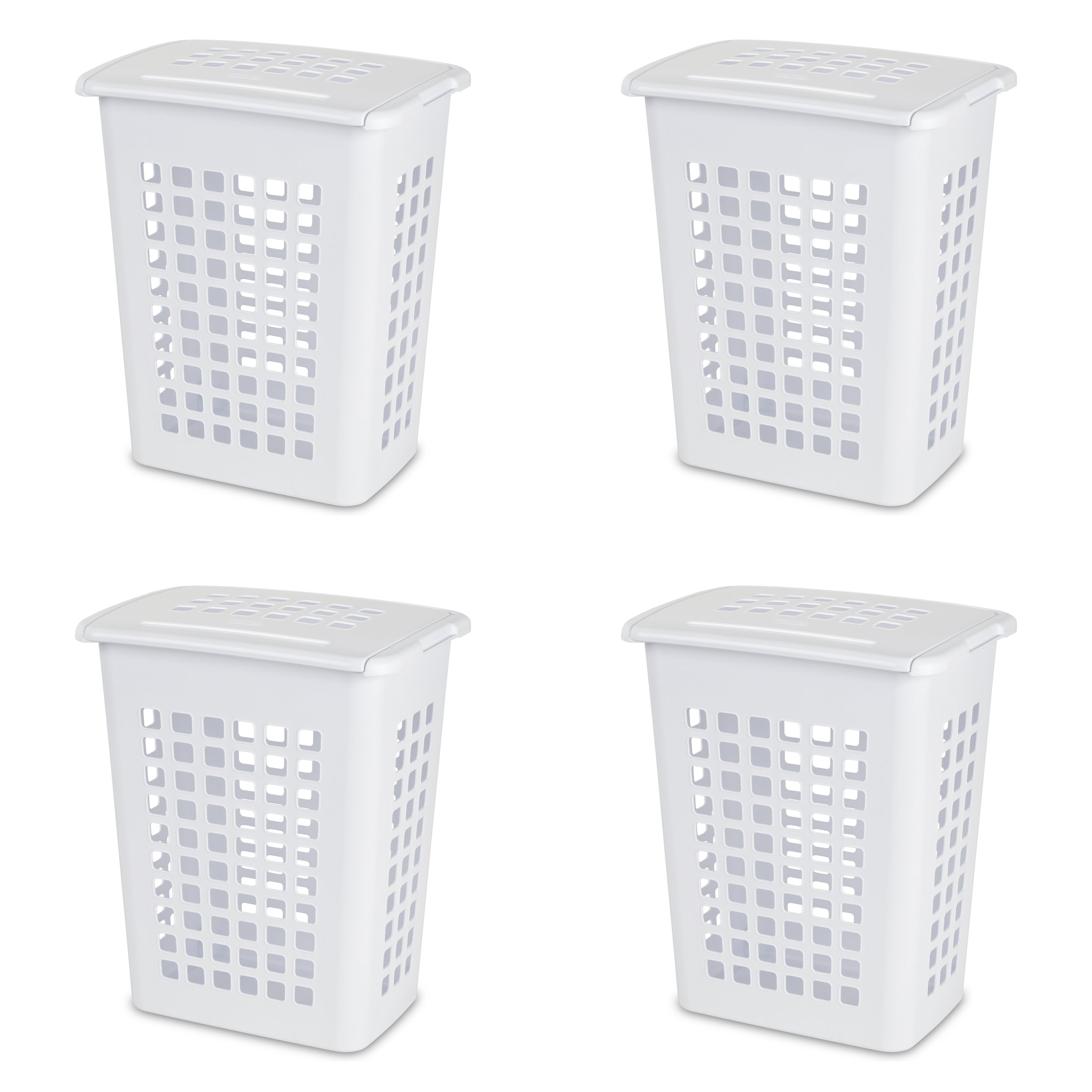 Sterilite 12238004 Rectangular LiftTop Laundry Hamper, White, 4-Pack by STERILITE