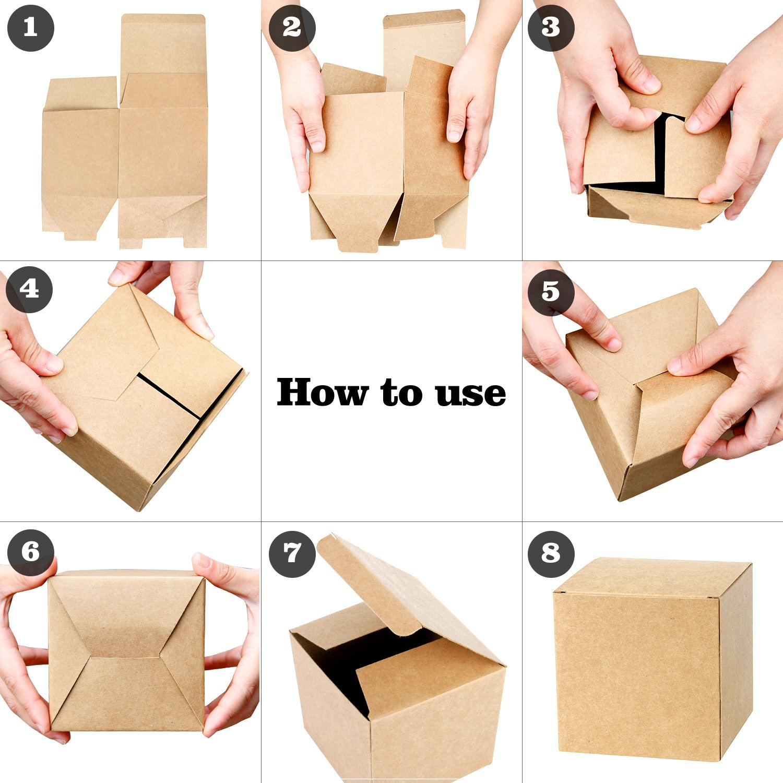 LaRibbons 30Pcs Cajas de Cartón Reciclado Marrón / Cajas de Kraft Favor Para Fiesta, Boda, Regalo, 75 x 75 x 75 mm: Amazon.es: Oficina y papelería
