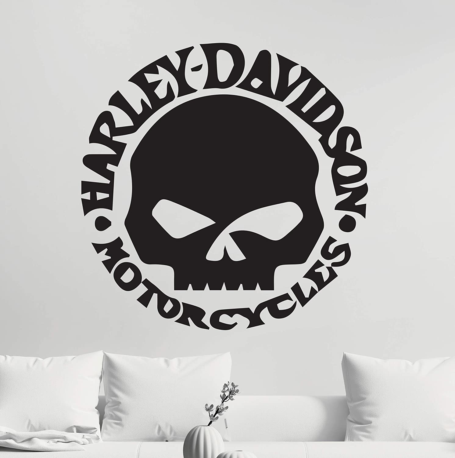"""ManukaDesigns Harley Davidson Wall Decal - Motor Cycles Themed Vinyl Sticker - The Great American Freedom Machine Bedroom Living Any Room Home Decoration CG454 (22"""" Width x 22"""" Height)"""