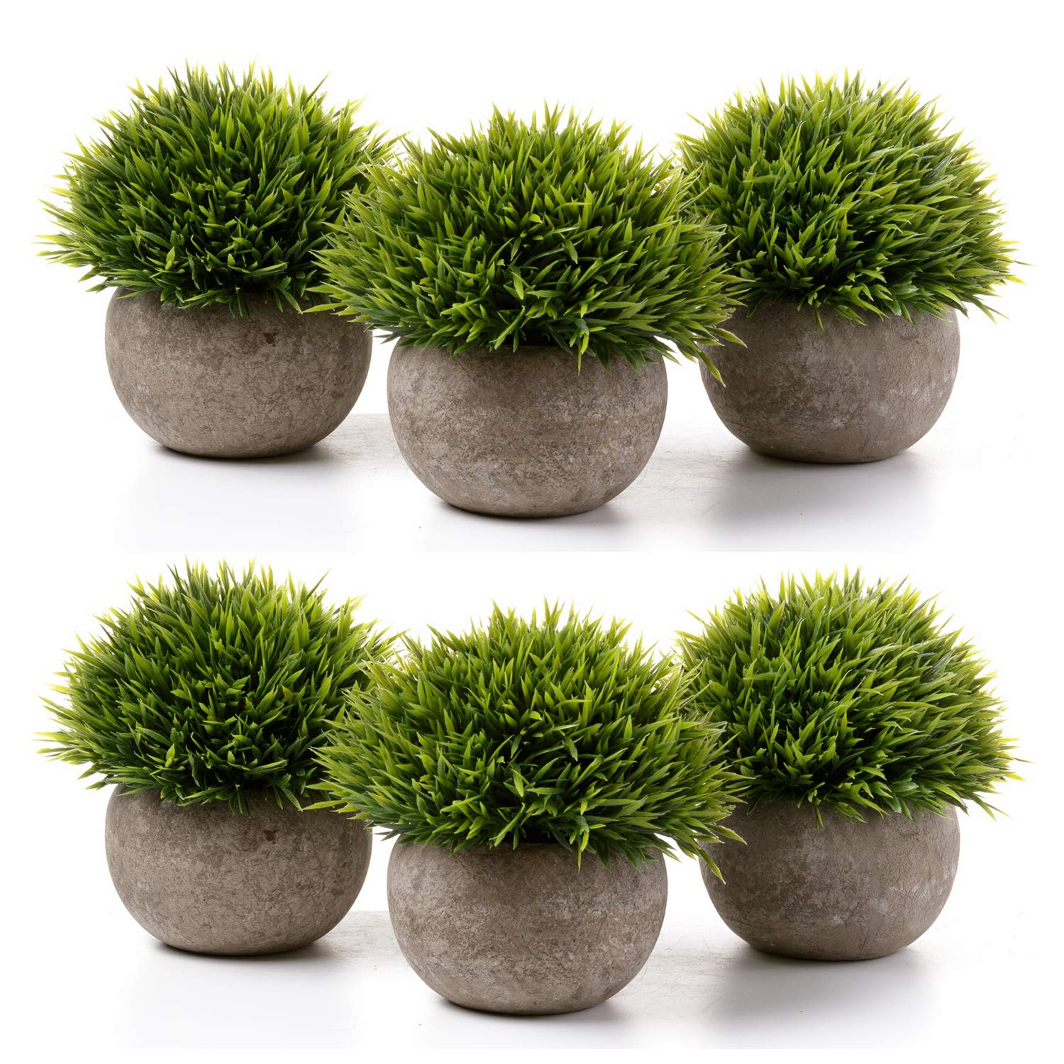 T4U Fake Artificial Potted Grass Plants - Small Green Pack of 6, Home and Office Decoration Desktop Windowsill Bonsai Indoor Gift for Wedding Birthday Christmas