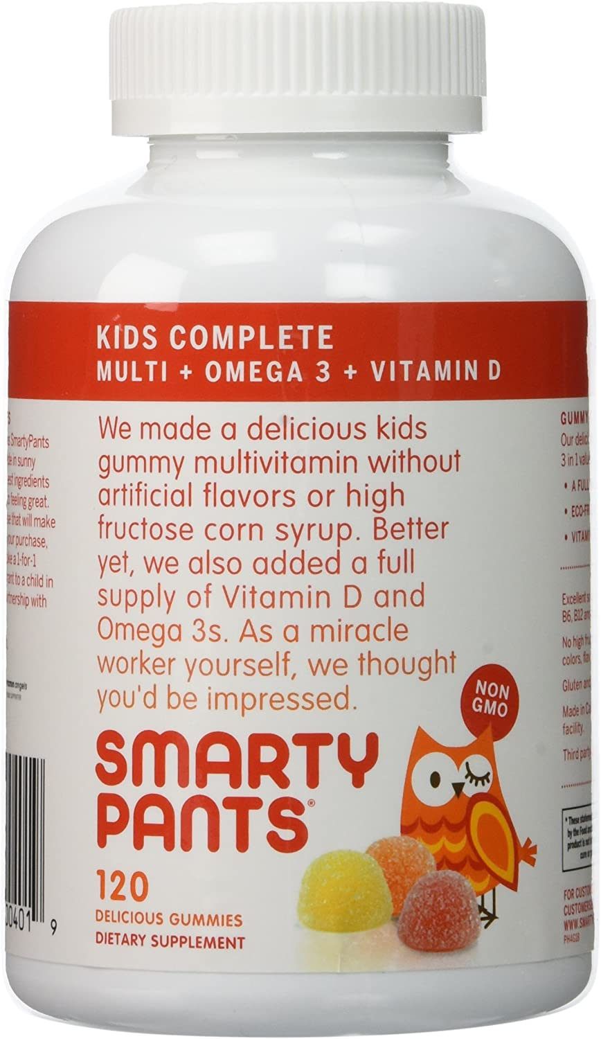 SmartyPants Vitamins Gummy Vitamins with Omega 3 Fish Oil and Vitamin D, Pack of 3 120 Count Each wcjyp37