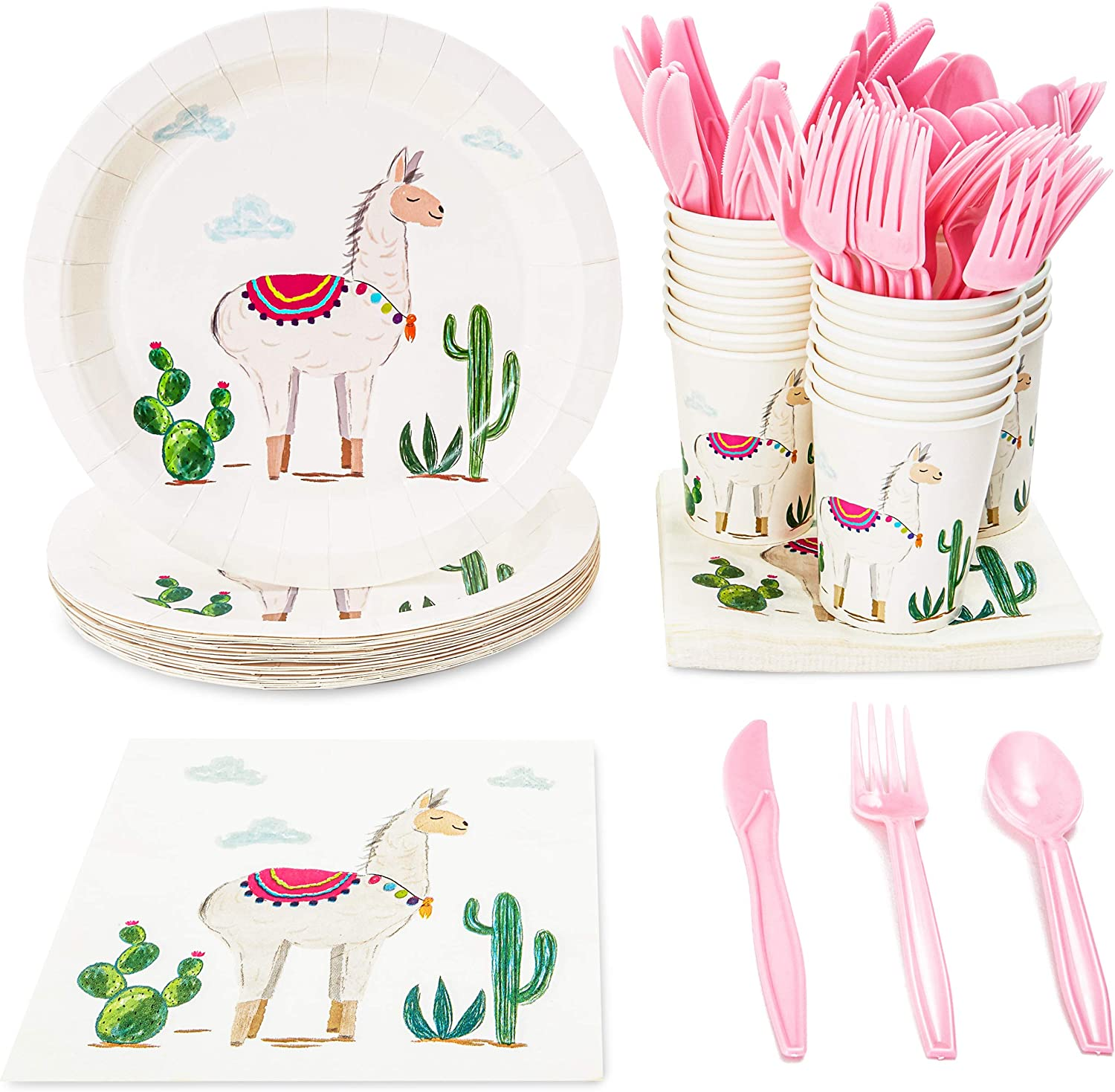 Llama Party Bundle, Includes Plates, Napkins, Cups, and Cutlery (24 Guests,144 Pieces)
