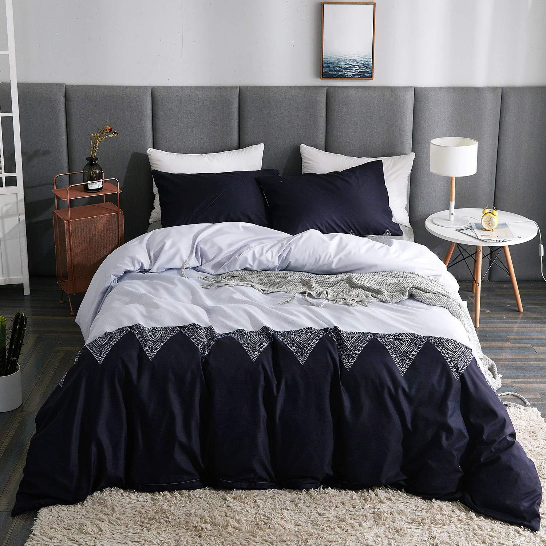 LAMEJOR Duvet Cover Sets Queen Size Bohemian Style Chevron Geometric Design Luxury Soft Bedding Set Comforter Cover (1 Duvet Cover+2 Pillowcases) Black/White