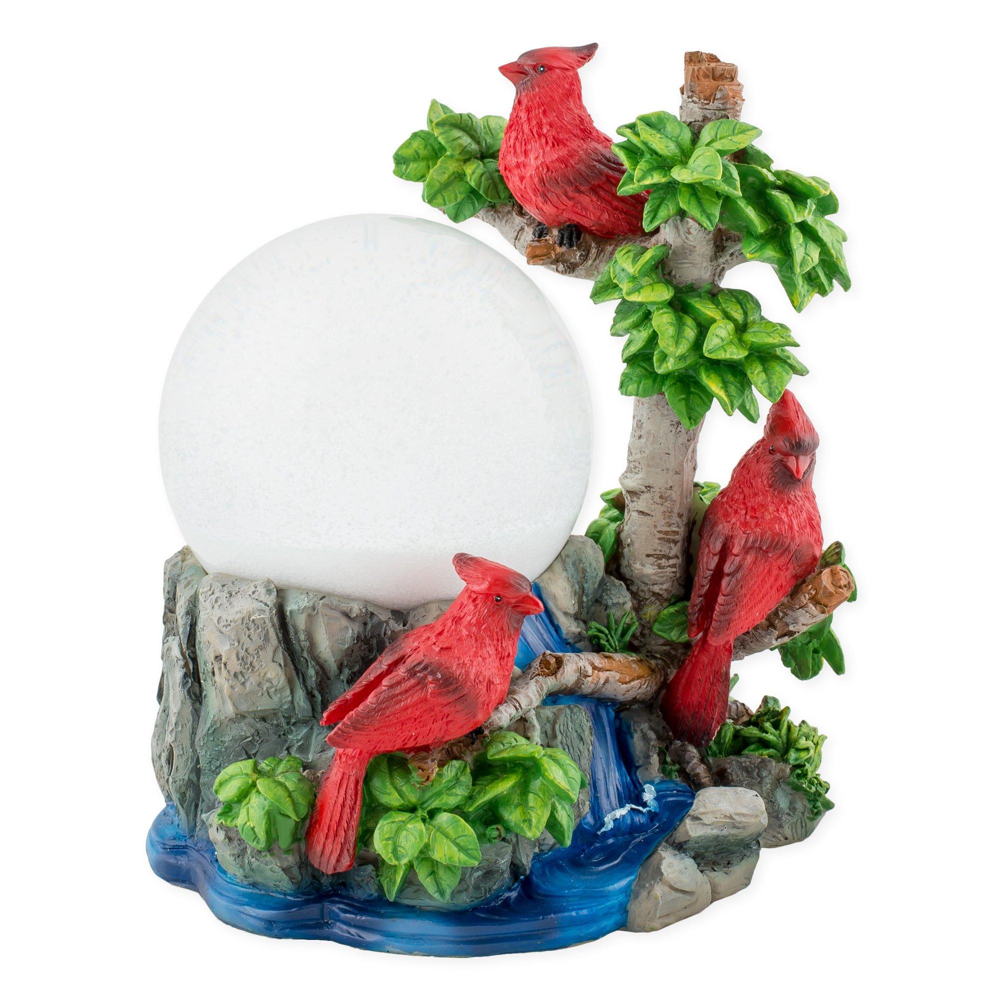 Cardinals in Tree 100mm Resin 3D Water Globe Plays Tune Beautiful Dreamer