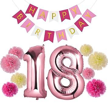 4d268009e Czemo Decoración Cumpleaños 18 Años Kit de Decoraciones de la Fiesta de  Cumpleaños + Globo Número 18 + Bandera del Feliz Cumpleaños + Pom Poms de  Papel  ...