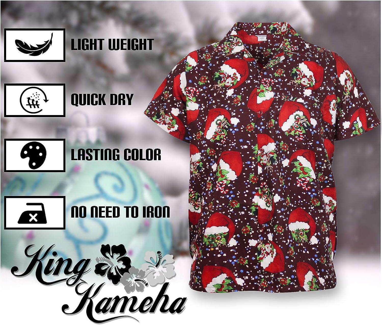 King Kameha Funky Hawaiian Shirt for Men Short Sleeve Front-Pocket Christmas Hats Santa Multiple Colors