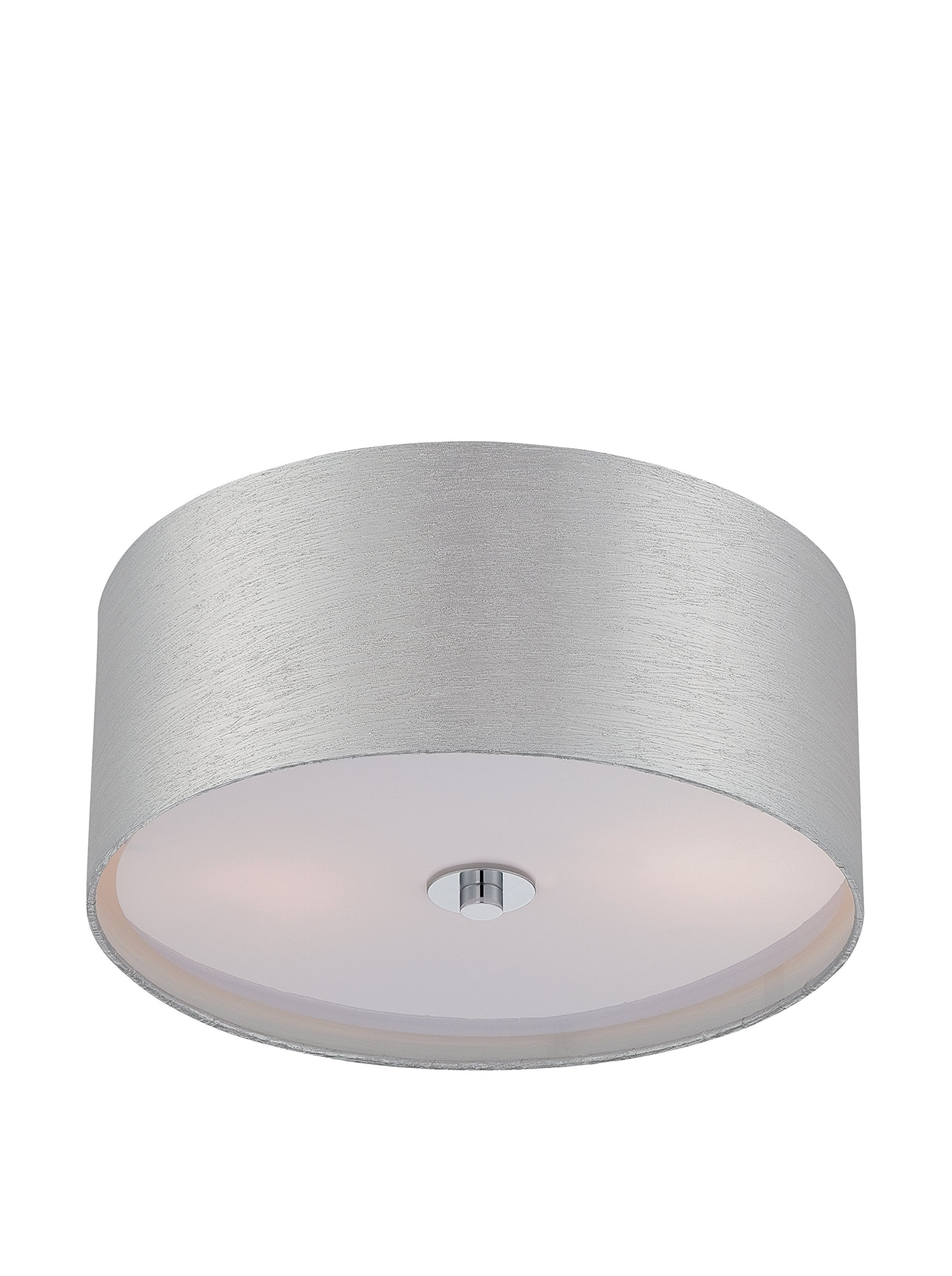 Lite Source LS-5569C/SIL E27 type A 60W x 2 Silvain Flush mount with Chrome/Silver fabric shade