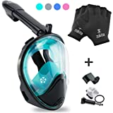 Full Face Snorkel Mask Set - Easy Breath, Anti Fog, Anti Leak Snorkeling Goggles with Removable Cam Mount for Underwater Camera, Panoramic 180° Snorkel Mask Clear View & Bonus Swim Gloves