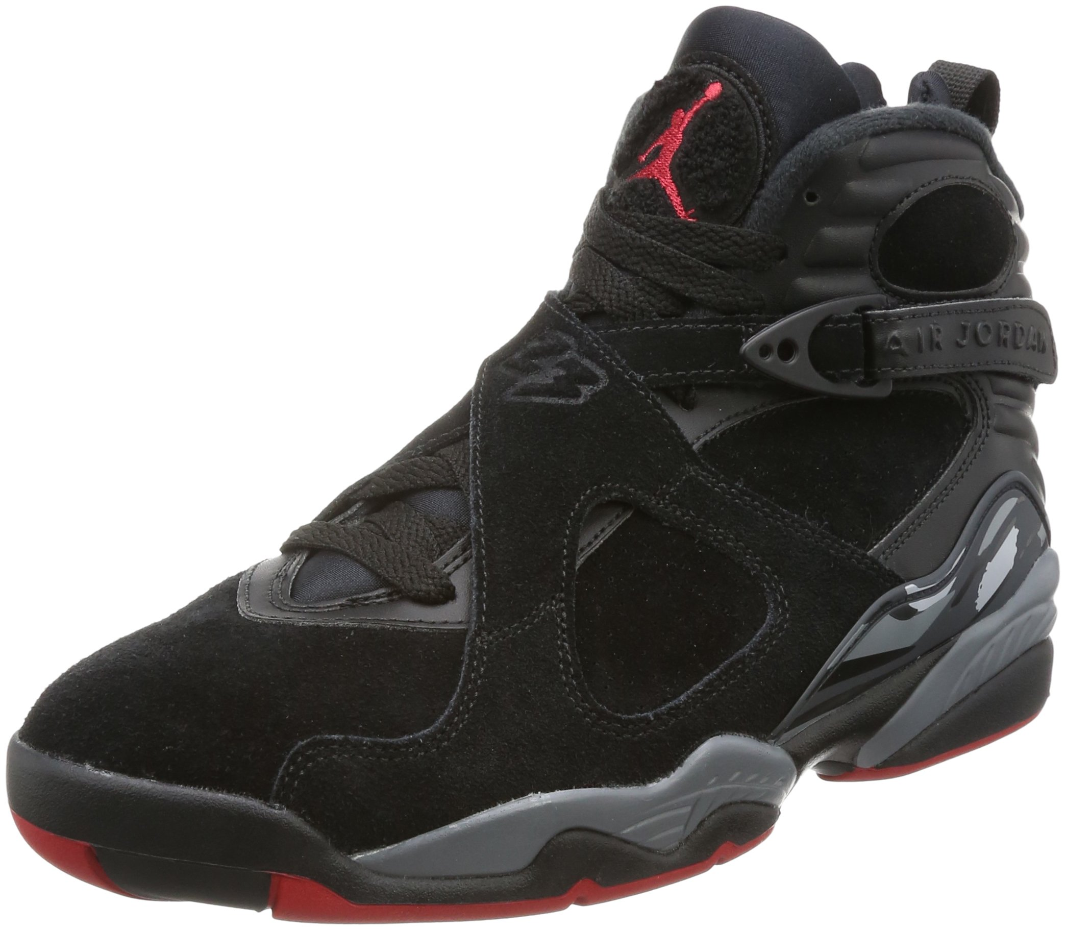 Jordan Air 8 Retro Bred Lifestyle Casual Sneakers Mens Black/Gym Red-Wolf Grey New 305381-022 - 9.5