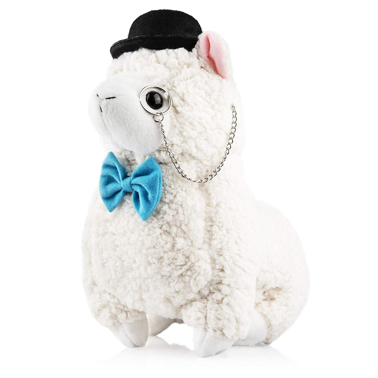 Llama Stuffed Animal Plush Fancy Friend Cute Funny Llama Plush with Monocle Bowtie for Children or Adults Perfect Party Gift or Bedtime Friend for Boys Girls 14 Inches Tall