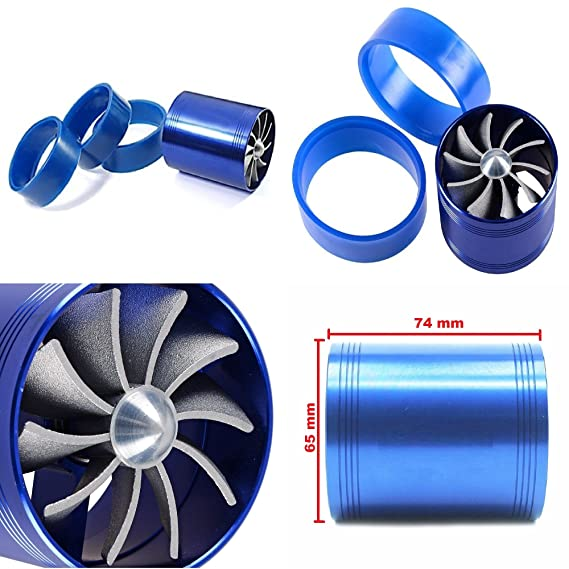 Amazon.com: Super Power Double Fan Turbine Turbo Charger Supercharger Air Intake Gas Fuel Saver Fan For Universal Aftermarket Vehicle Car: Automotive