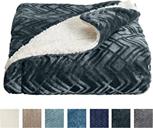Home Fashion Designs Premium Reversible Sherpa and Fleece Velvet Plush Blanket. Fuzzy, Soft, Warm Berber Fleece Bed Blanket Brand. (Full/Queen, Charcoal)