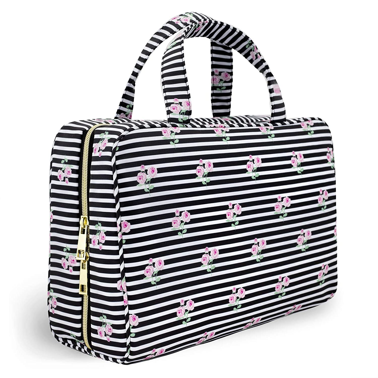Once Upon A Rose Makeup Bag for Women and Girls, Large Cosmetic Bag with Zippered, Transparent Pockets and Handles, Foldable Makeup Bag for Home and Travel - Roses & Stripes Print