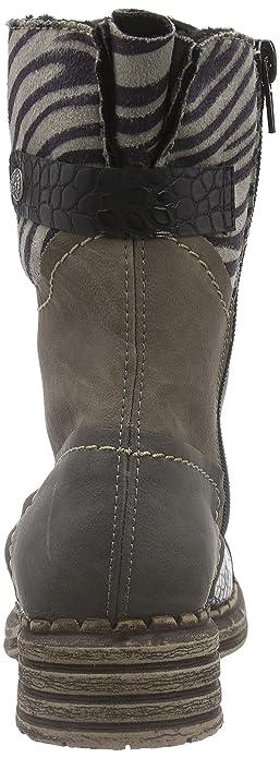 Rieker Damen Y9624 Kurzschaft Stiefel Grau (fumoschwarz