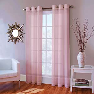 """Gorgeous HomeDifferent Colors and Sizes 1 Faux Silk Window Curtain Panel Width 55"""" X 63""""84"""" 95"""" 108"""" Length Solid Includes 8 Bronze Grommets (84"""" Length, Light Pink)"""