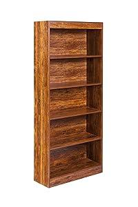 OneSpace 50-LD01CHSHLF Essentials 5-Tier Book Shelf Bookshelf, Golden Cherry