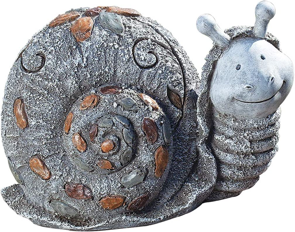 Roman Garden - Pebble Snail Statue, 5.75H, Pudgy Pals Collection, Resin and Stone, Decorative, Garden Gift, Home Outdoor Decor, Durable, Long Lasting