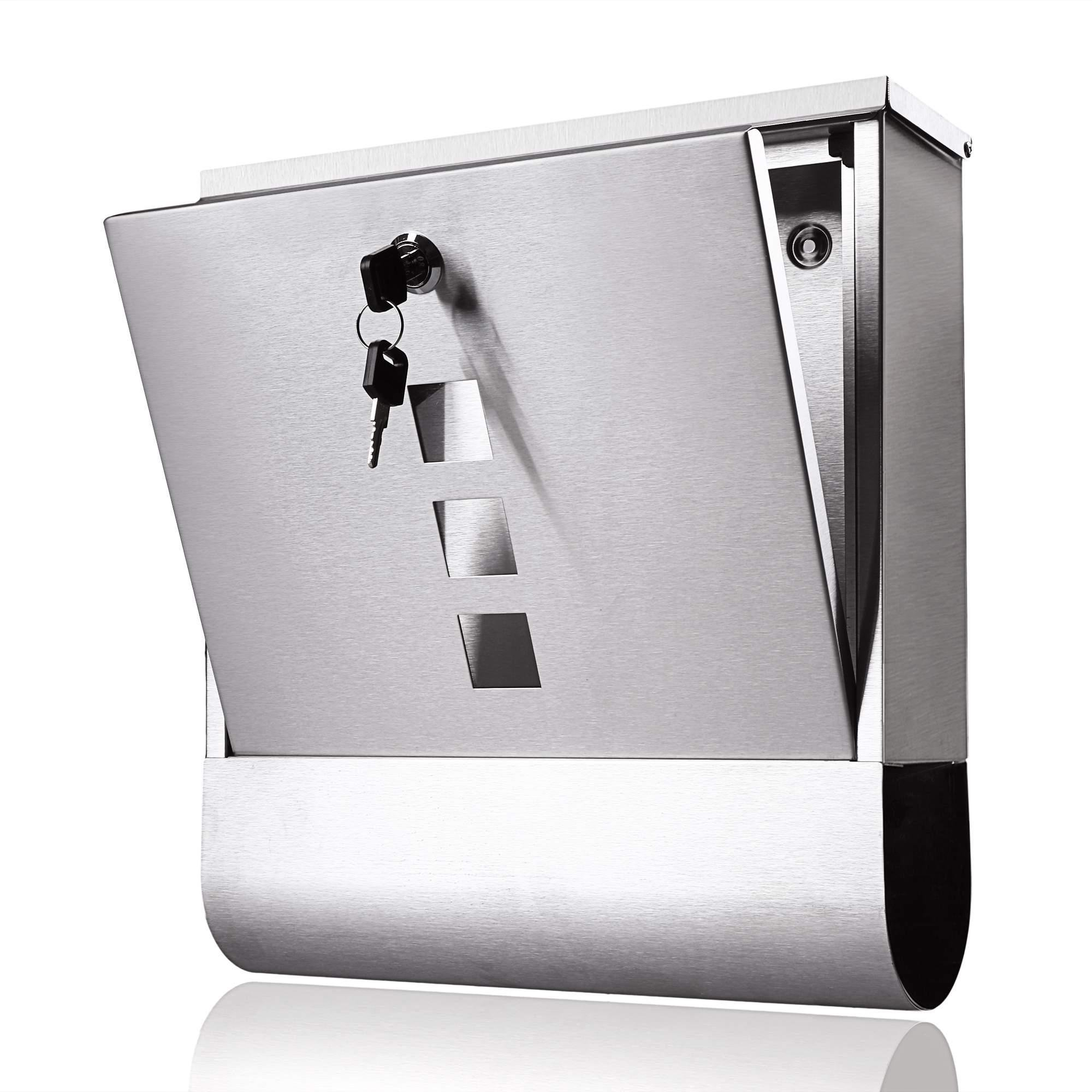 Stainless Steel Locking Mailbox Wall Mounted Letterbox [US Stock] by Rateim (Image #2)