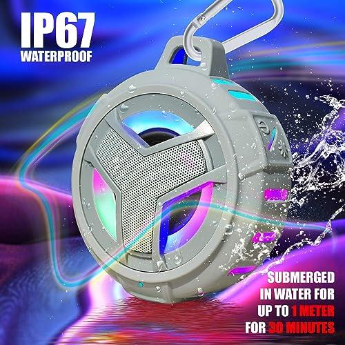 EBODA Shower Bluetooth Speaker, IPX7 Waterproof Portable Floating Speaker with Loud HD Sound, TWS Bluetooth 5.0 Wireless Speaker with Light Show, 24H Playtime for Shower Pool Beach – Gray