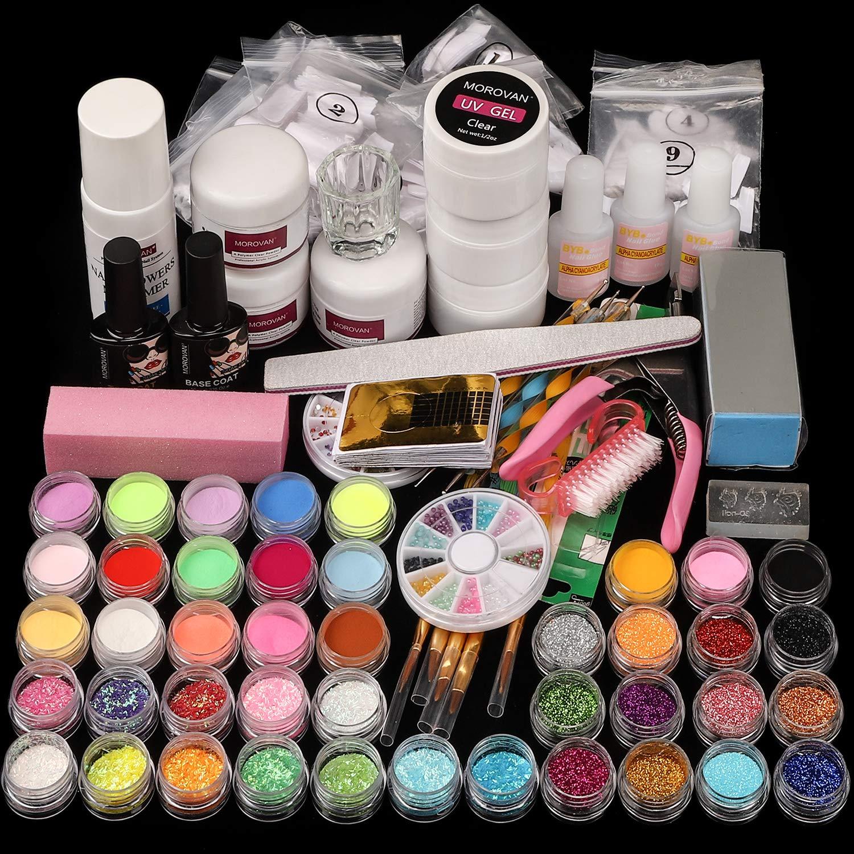Acrylic Nail kit, with Nail Flowers Monomer and Basic Nail Art Tools Shinny Glitter Acrylic Powder liquid Kit Gift Box Set: Beauty