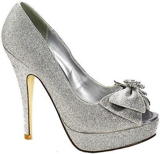 Ladies Silver Sparkle Bow Peep Toe Shoe