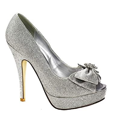 ad90be026ac5 Ladies Silver Sparkle Bow Peep Toe Shoe Platform Glitter Shoe (UK Size 6)