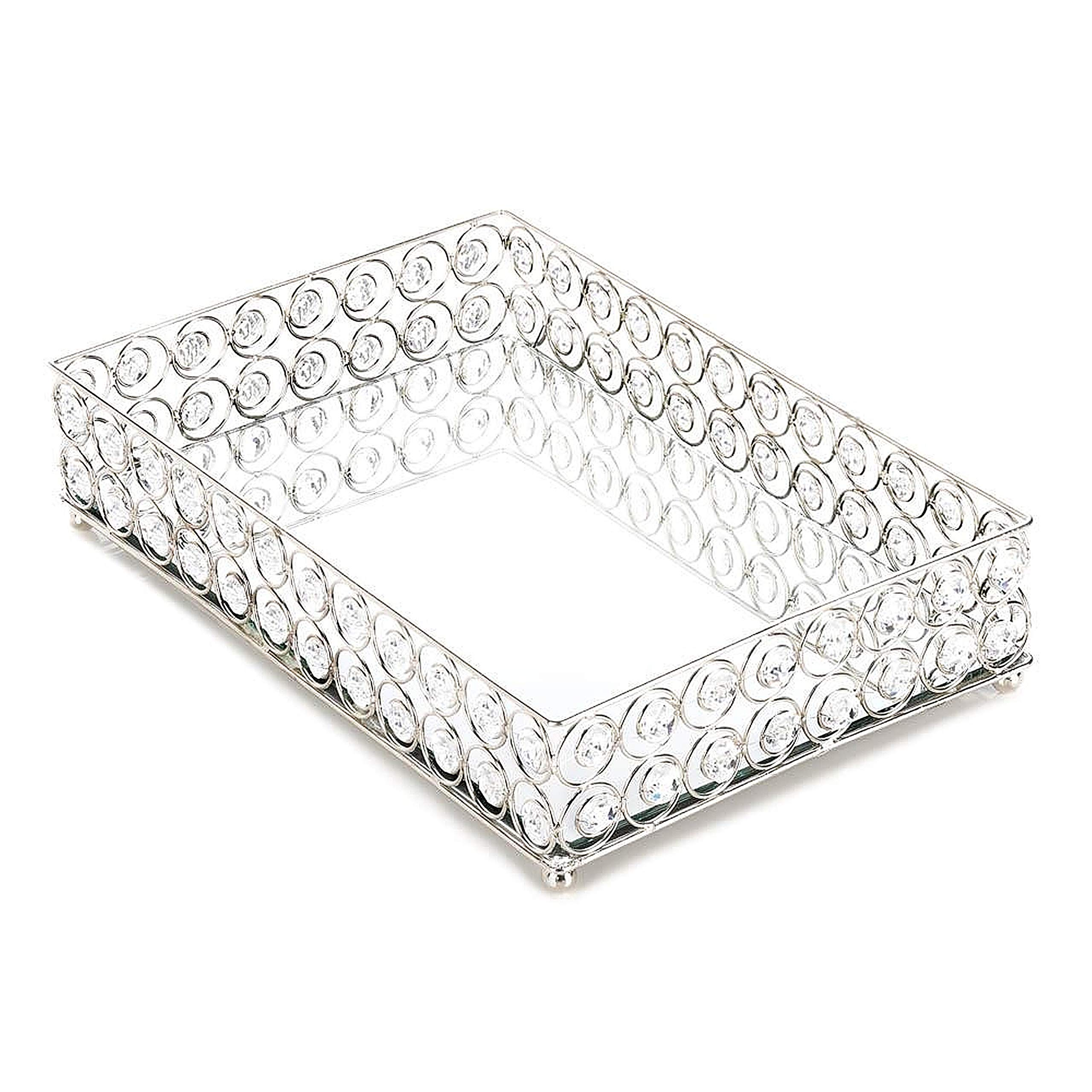 Bathroom Mirrored Tray, Rectangle Metal Vanity Trays Elegant Jewelry Perfume Cosmetics Organizer with Crystal Beads Silver Decorative Mirror Ornate Accent Tray for Bedroom