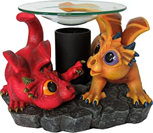 World of Wonders - Dreamland Dragons Series - Magical Aura - Collectible Ruby and Treasure Adorable Baby Dragon Figurine Fragrance Warmer Oil Burner Wax Melt Fantasy Home Decor Accent Lamp, 7.5-inch
