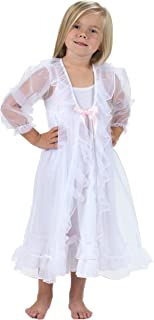 product image for Laura Dare Little Girls Sweet Princess Peignoir Nightgown & Robe, Red/Pink Trim