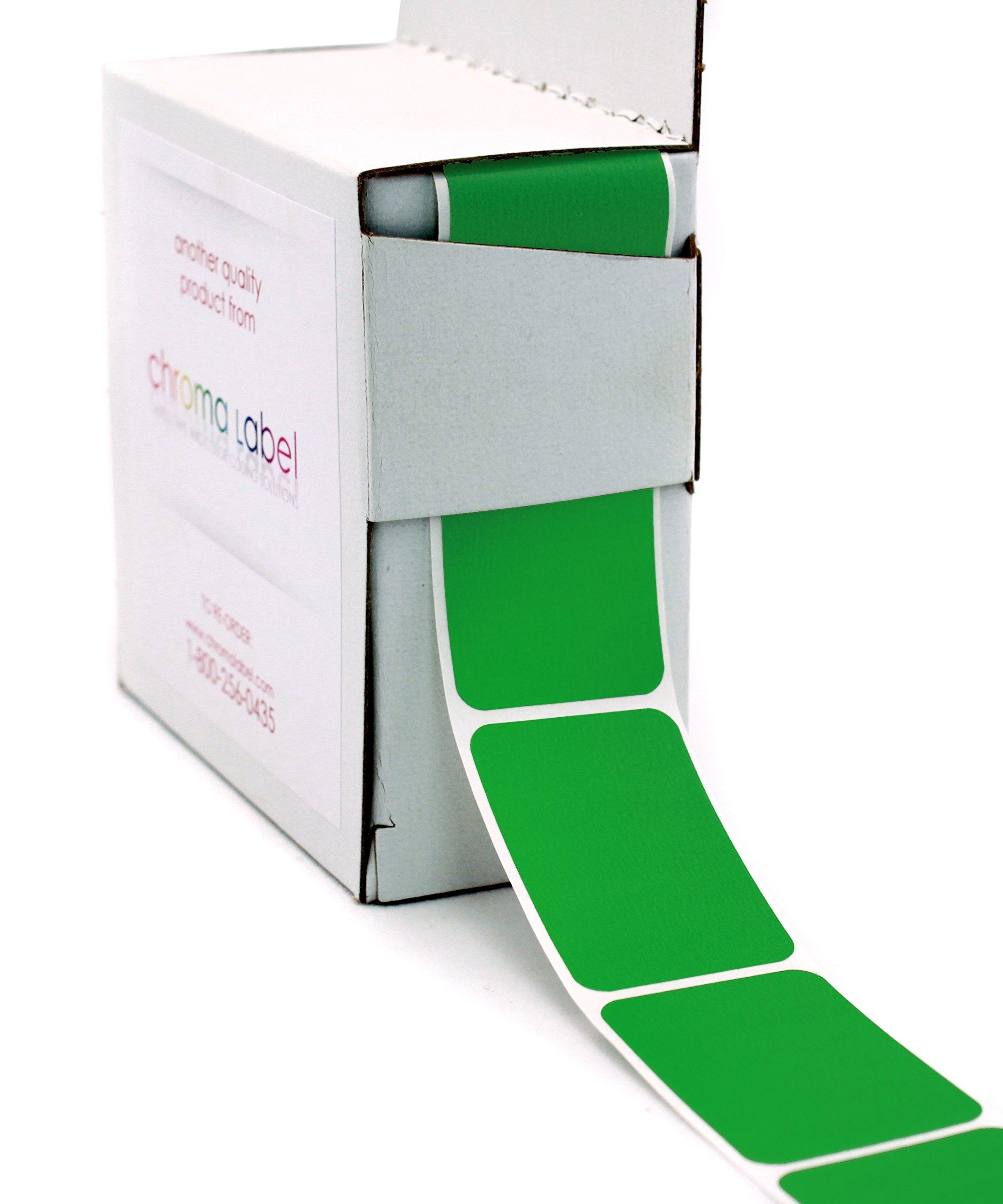 ChromaLabel 1 x 1-1/2 inch Color-Code Labels | 250/Dispenser Box (Green)