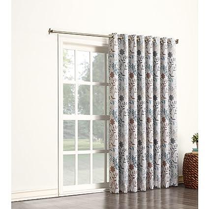 1 pieza Color Gris Color Floral cortina de puerta corredera, azul ...