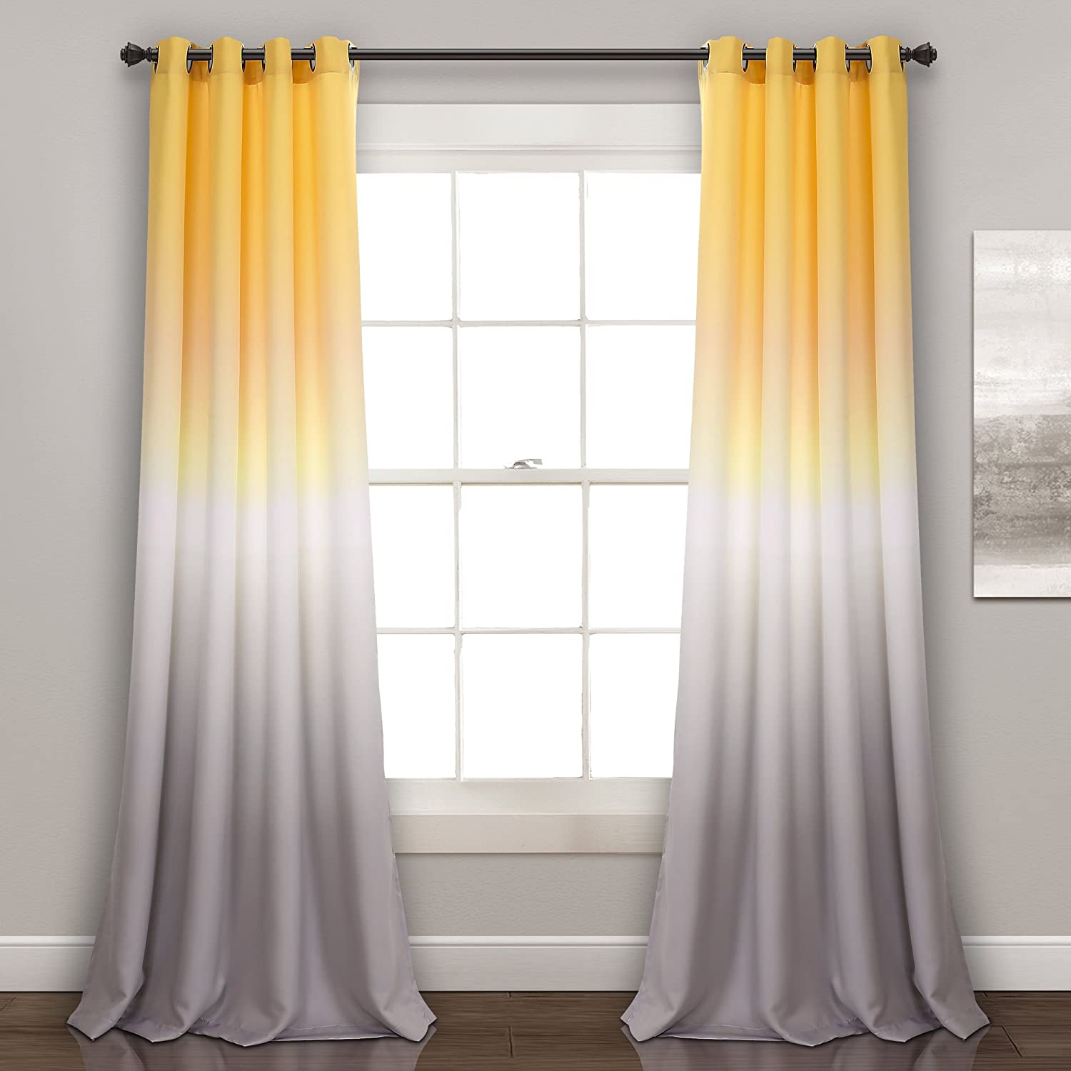 "Lush Decor Ombre Fiesta Curtains Room Darkening Window Panel Set for Living, Dining, Bedroom (Pair), 84"" x 52"", Yellow and Gray"