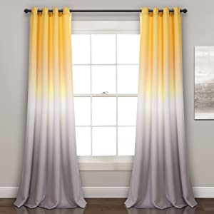 "Lush Decor Ombre Fiesta Curtains Room Darkening Window Panel Set for Living, Dining, Bedroom (Pair) 84"" x 52"" Yellow and Gray"
